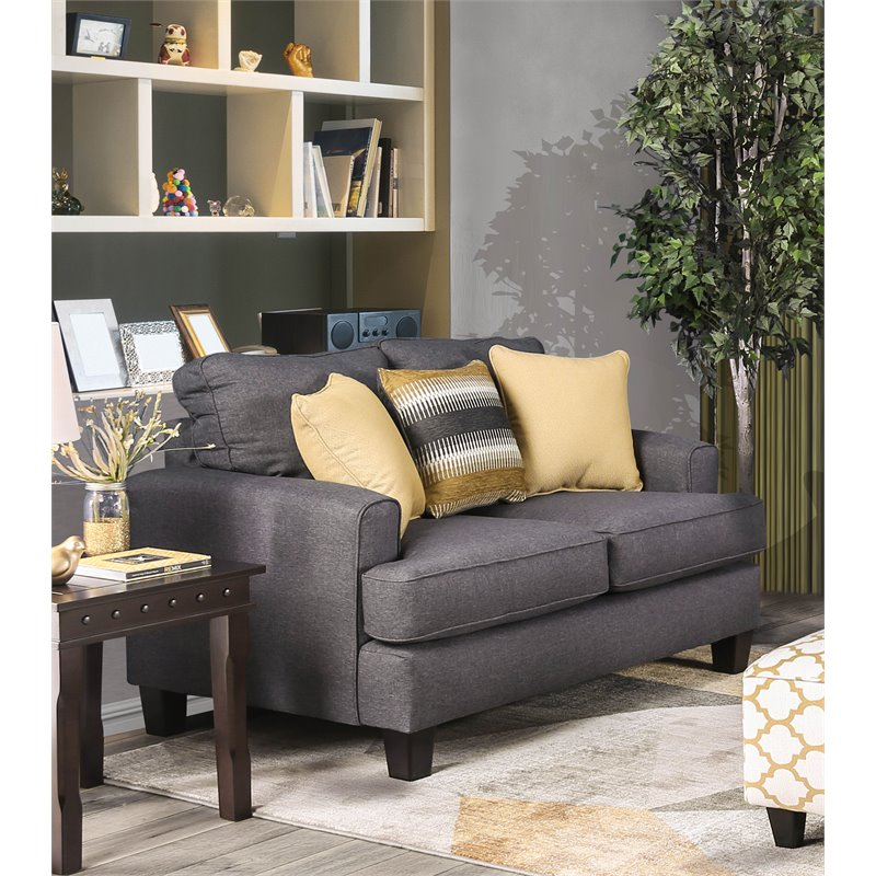 Furniture of America Allen Contemporary Loveseat in Grey