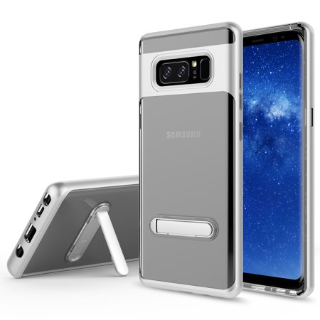 Galaxy Note 8 Case, KAESAR Crystal Clear Hard Ultra Slim fit Anti Scratch Bumper with Magnetic Metal Kickstand Protective Case Cover for for Samsung Galaxy Note 8 (SILVER) (Note 3 Metal Bumper Case)