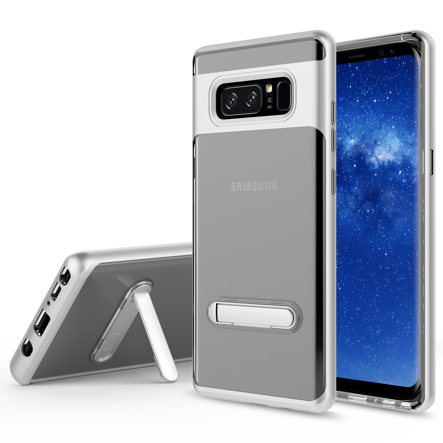 Galaxy Note 8 Case, KAESAR Crystal Clear Hard Ultra Slim fit Anti Scratch Bumper with Magnetic Metal Kickstand Protective Case Cover for for Samsung Galaxy Note 8 (SILVER)