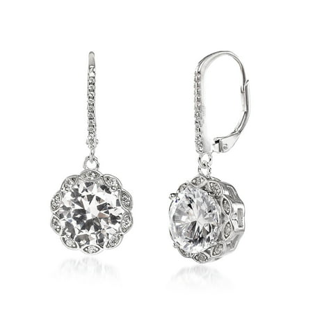 Inspired by You Round Prong Set Cubic Zirconia Antique Style Halo Leverback Drop Dangle Bridal Earring for Women in Rhodium Plated 925 Sterling Silver