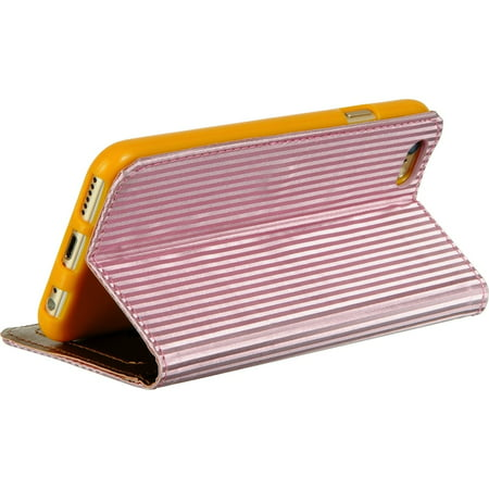 - iCellCover Apple Iphone 6/6S Shiny Stripes ID Window Wallet Pouch