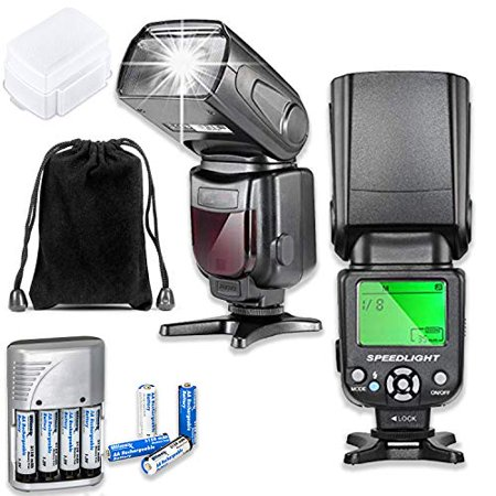 Fully Dedicated Automatic TTL Flash for Canon DSLR Cameras Including EOS Rebel T3, T3i, T4i, T5, T5i, T6, T7, T6i, T6s, T7i, SL1, SL2, EOS 60D, 70D, 77D, 80D, 5D III, 5D IV, EOS 6D, 7D, 7D II