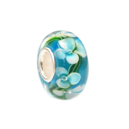 Queenberry Blue Hawaii Flower Glass Bead Sterling Silver Core For European Charm Bracelets Fits