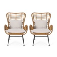 Noble House Marquwz Outdoor Wicker Club Chairs with Cushions, Set of 2
