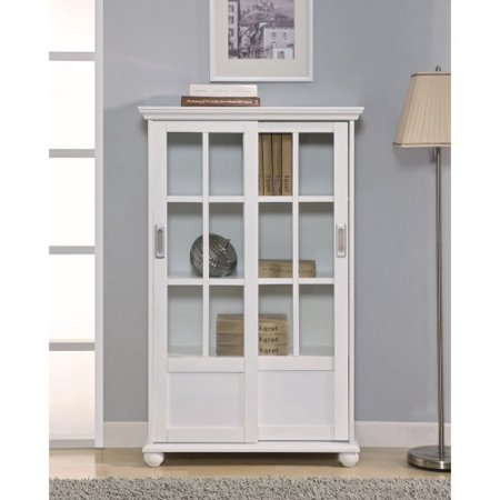Altra Bookcase With Sliding Glass Doors White