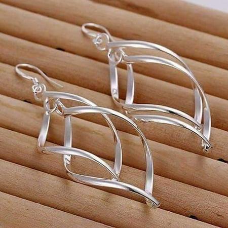 ON SALE - Sterling Silver Interlocking Diamond Spirals Earrings (Tibetan Silver Findings)