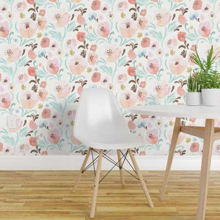 Peel-and-Stick Removable Wallpaper Peach Mint Floral Cottage Chic Vintage Home Vintage Painted Cottage