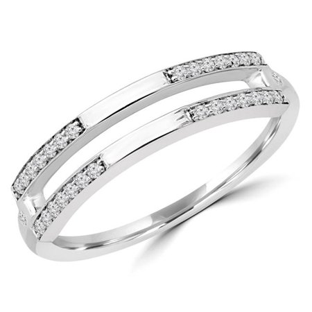 Majesty Diamonds MDR190058-3 0.16 CTW Round Diamond Split Two-Row Semi-Eternity Wedding Band Ring in 14K White Gold - Size 3 3 Wedding Ring Eternity Bands