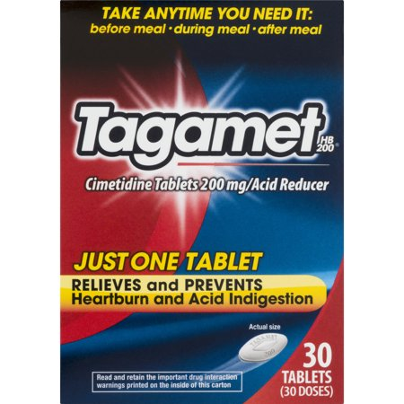 Tagamet HB 200 Acid Reducer, 200 mg tablets 30 ea Tagamet HB 200 Heartburn and Acid Indigestion Relief. Cimetidine tablets 200 mg/acid reducer. Just one tablet. Relieves and prevents heartburn and acid indigestion. 30 tablets (30 doses).