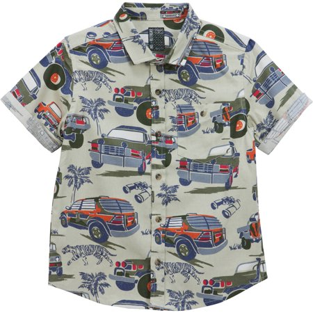 Toddler Boys' Trunk Print Short Sleeve Woven Shirt