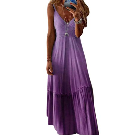 Ladies Spaghetti Strap Maxi Dress Casual Oversized Summer Sleeveless Sundress Party Holiday V Neck Long Dress Womens Gradient Tie Dye Boho Dress Women Tye Dye