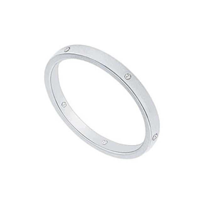 FineJewelryVault UBVNCF200PTD-120 2MM Flat Wedding Band with Diamonds : Platinum - 0. 05 CT TDW - Size: 7