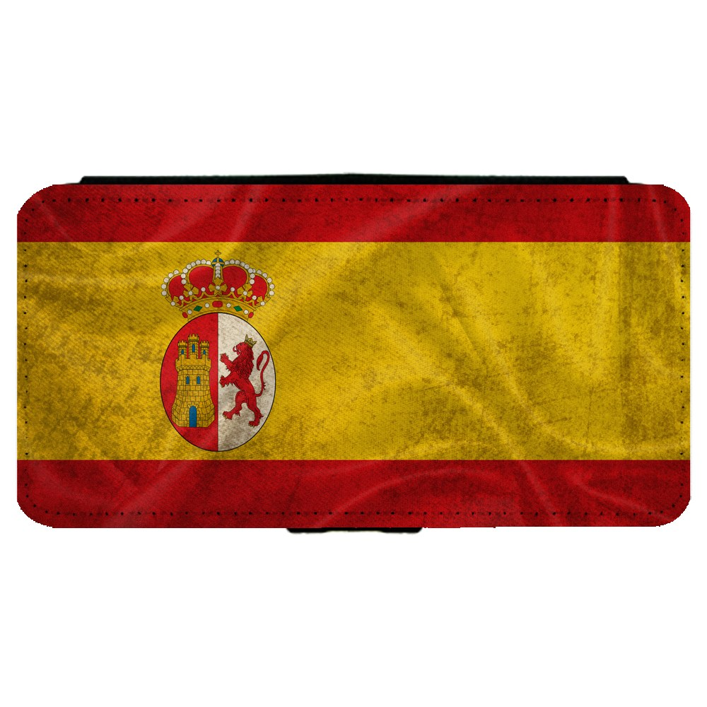 Spain Spanish Flag Samsung Galaxy S7 Edge Leather Flip Phone Case by Mad Marble
