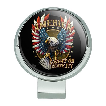 America Love It Or Leave Eagle USA American Flag Golf Hat Clip With Magnetic Ball Marker Magnetic Ball Marker