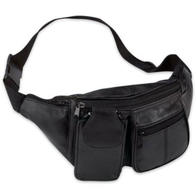 Solid Genuine Lambskin Leather 6-Pocket Waist Bag