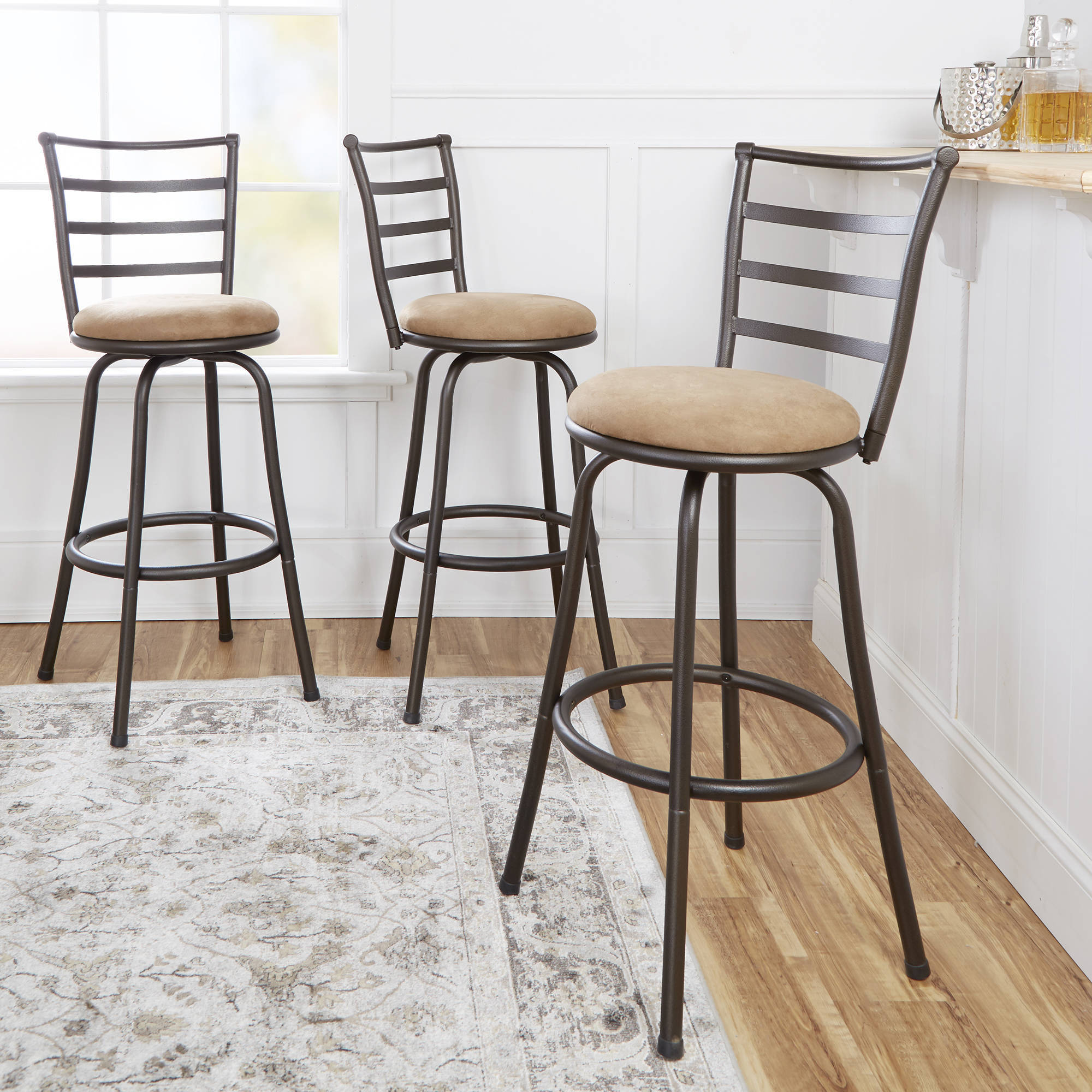 mainstays swivel barstool hammered bronze finish set of 3 multiple