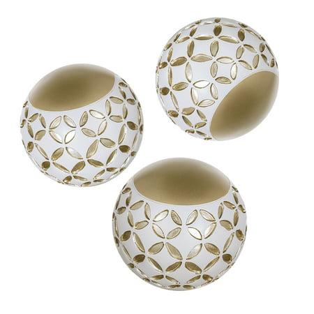 Schonwerk Diamond Lattice Decorative Orbs Set of 3 | Resin Spheres Balls Decor | 3.2