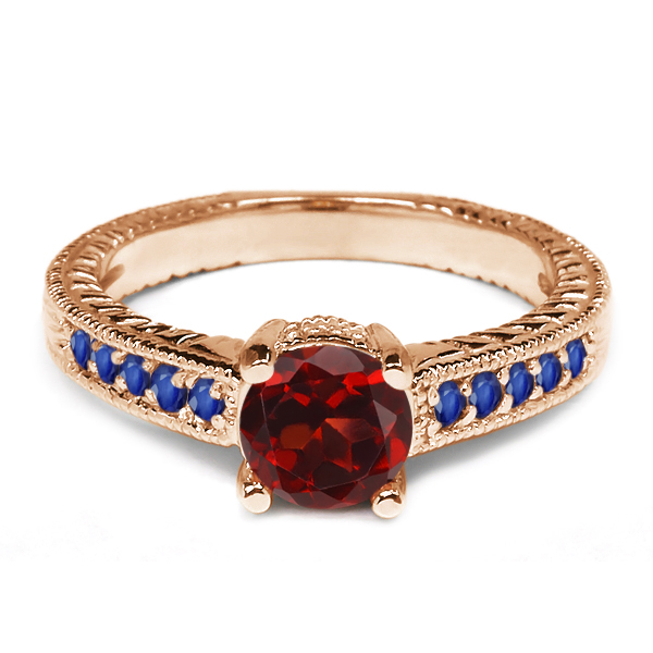 1.20 Ct Red Garnet Blue Sapphire 925 Rose Gold Plated Silver Engagement Ring