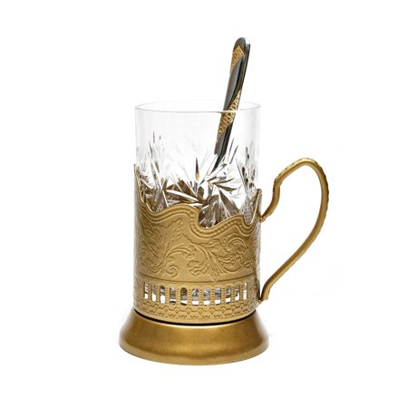 GOLD Set of 1 Russian Vintage Crystal Tea Glass & Handmade Holder Podstakannik (Russia Crystal)