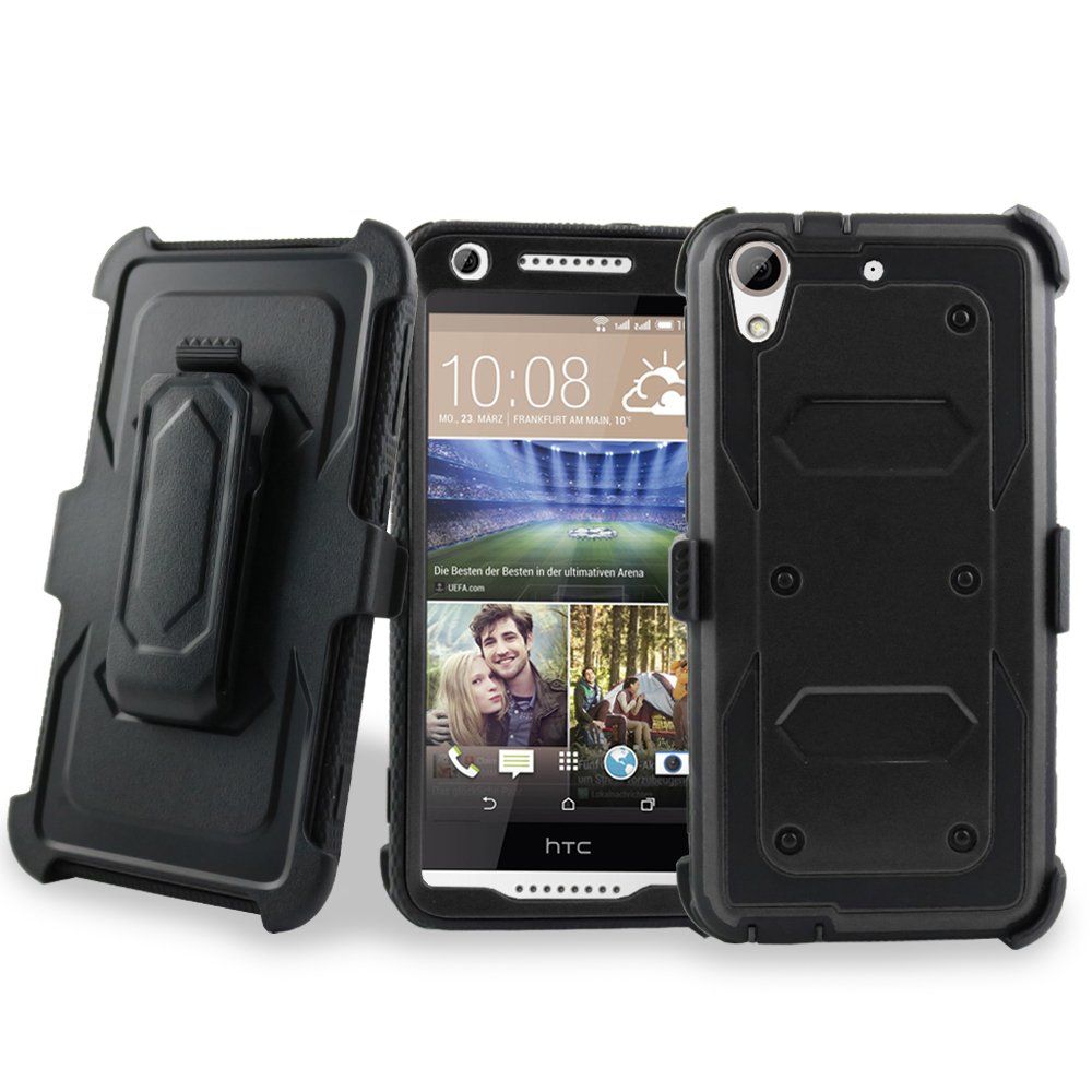 for HTC Desire 626 626s Case Phone Case Holster Armor Jousting Shield Cover Clip Kickstand Screen Pro Hybrid Cover Black