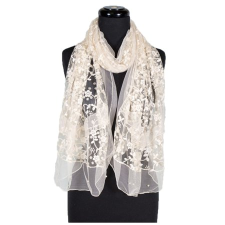 Women's Laies Fshion Long Chiffon Floral Embroidery Lace with Faux-Pearl Scarf Neck Scarves Shawl