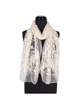 Women's Laies Fshion Long Chiffon Floral Embroidery Lace with Faux-Pearl Scarf Neck Scarves Shawl Wrap