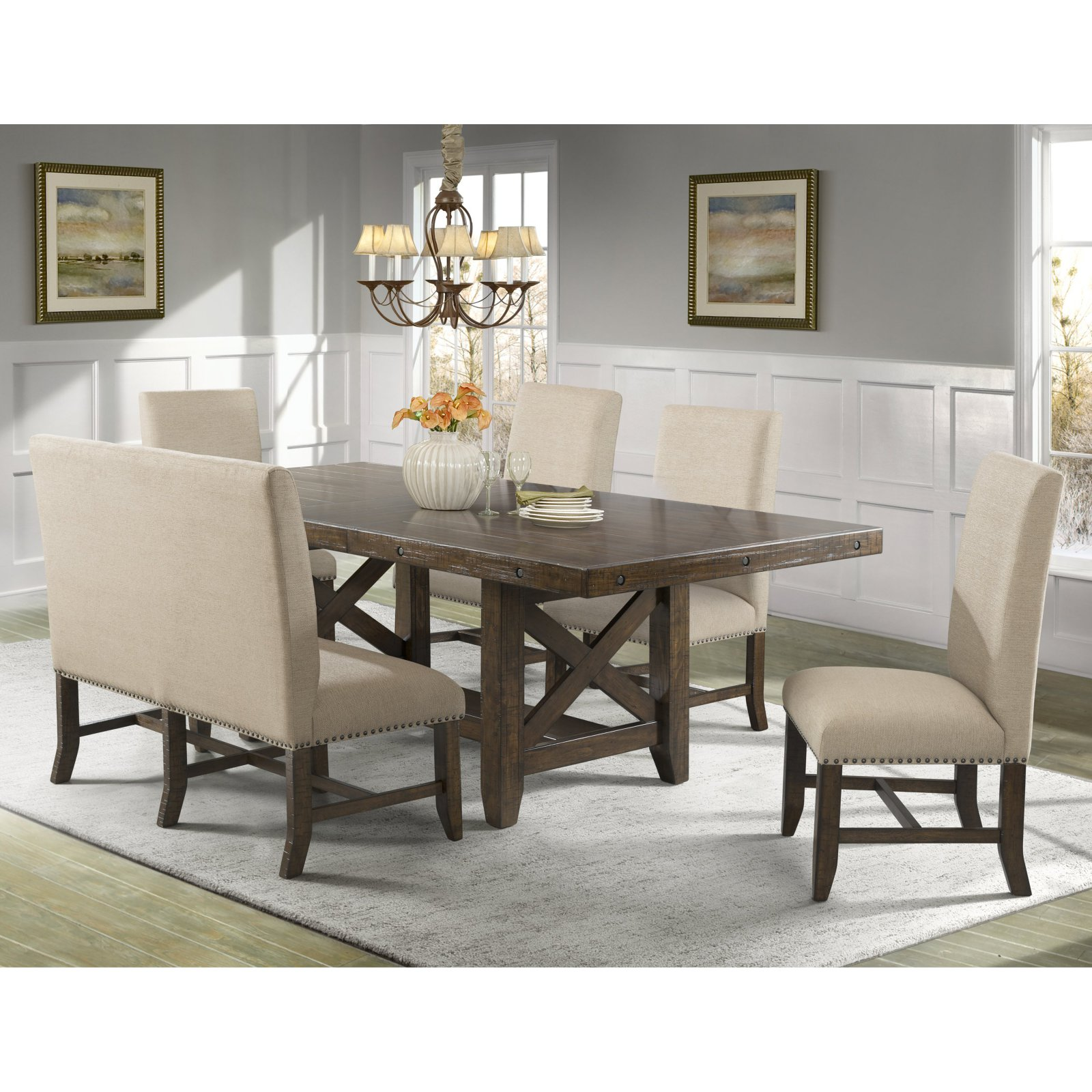 Picket House Francis 6 Piece Upholstered Dining Table Set