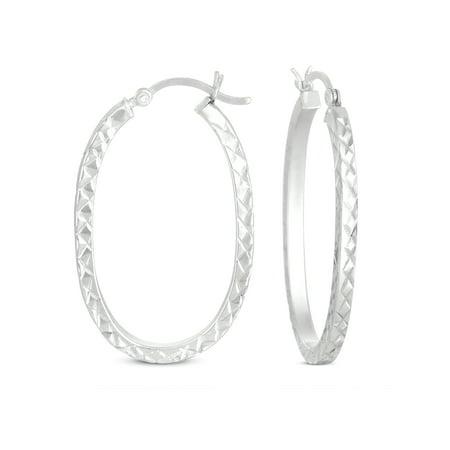 Diamond Cut Square Tube Large Hoop Earrings in Sterling Silver