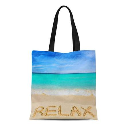 LADDKE Canvas Tote Bag Shell Relax Beach Sand Clam Seashell Sea Sandy Sun Reusable Handbag Shoulder Grocery Shopping Bags