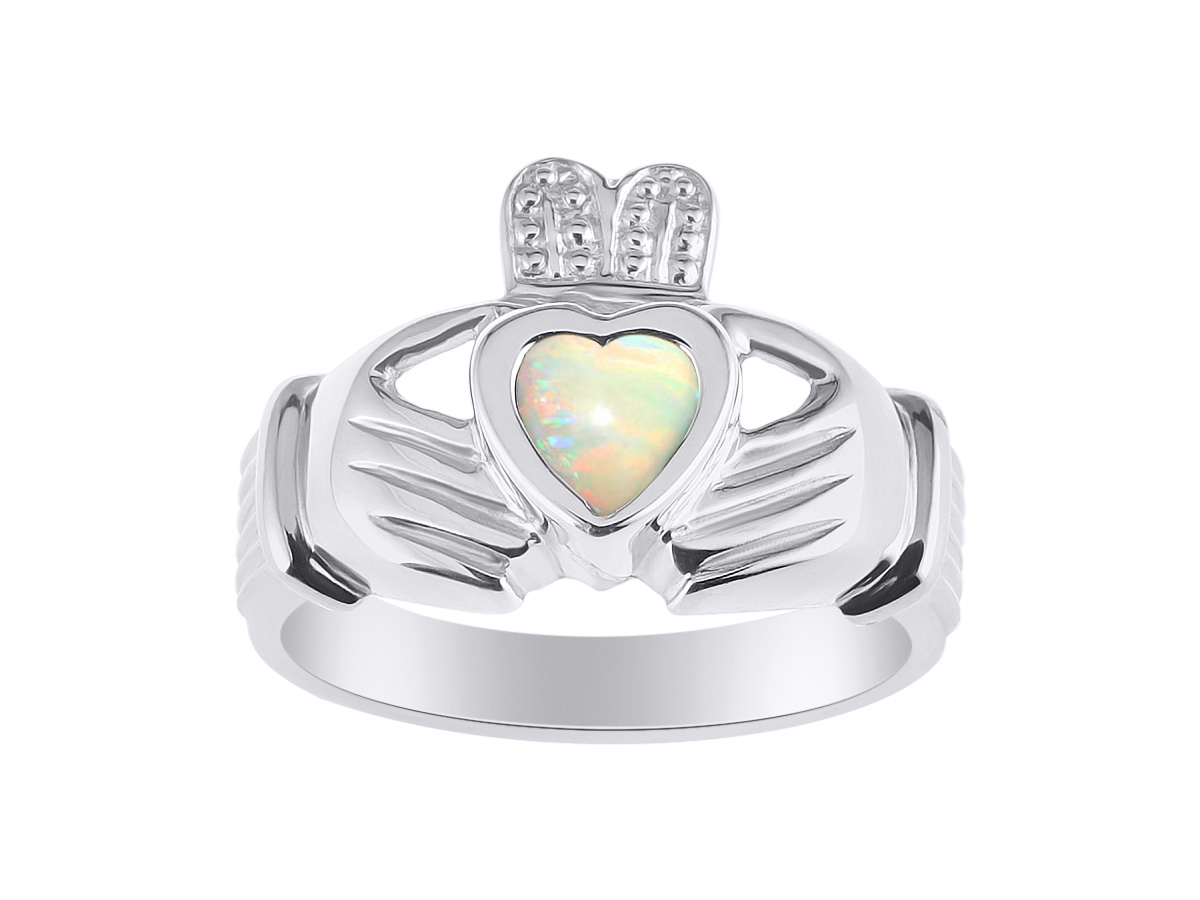 Opal Claddagh Ring Claddah Love, Loyalty & Friendship Ring Set in 14K White Gold Unisex His or Hers LR7773OPW-D by Rylos