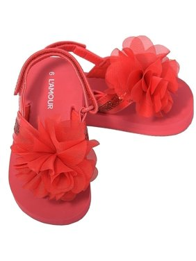 Red Sequin Strap Flower Flip Flop Sandals Toddler Girls 5-10