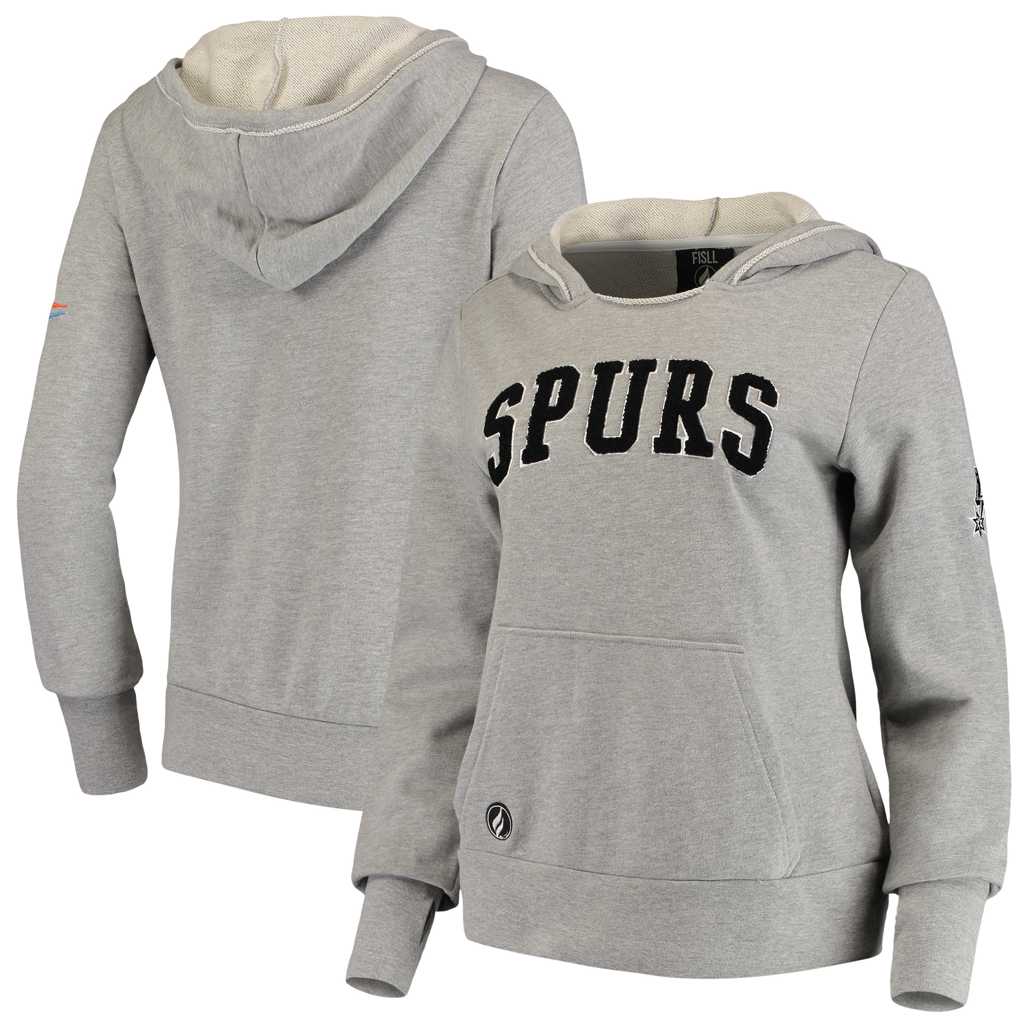 San Antonio Spurs FISLL Women's French Terry Lining Thumbhole Pullover Hoodie - Heather Gray