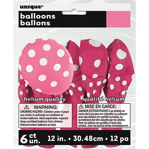 "12"" Latex Hot Pink Polka Dot Balloons, 6ct"