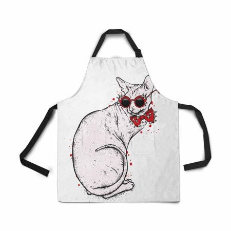 ASHLEIGH Adjustable Bib Apron for Women Men Girls Chef with Pockets Hipster Cat Glasses Tie Thorn Novelty Kitchen Apron for Cooking Baking Gardening Pet Grooming (Girls With Hipster Glasses)