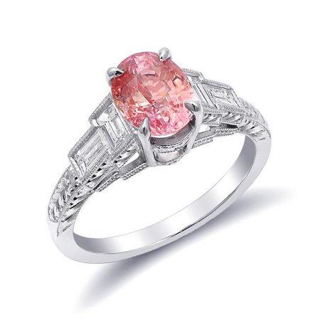 Precious Stars JJ1359-sz6 Platinum 2.61 Carat TGW Padparadscha Sapphire & Diamond One of a Kind Ring - Size 6 - image 1 of 1