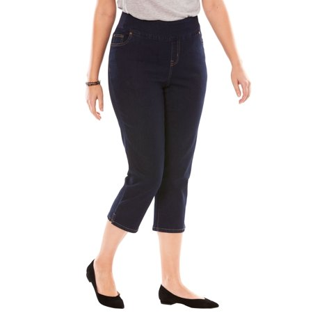Woman Within Plus Size Smooth Waist Capri Jean