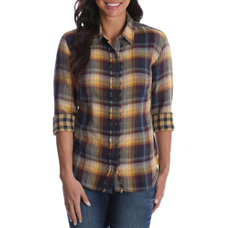 Women's Long Sleeve Woven Shirt with Fraying