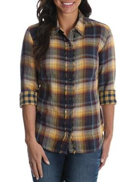 Women's Long Sleeve Woven Shirt with Fraying
