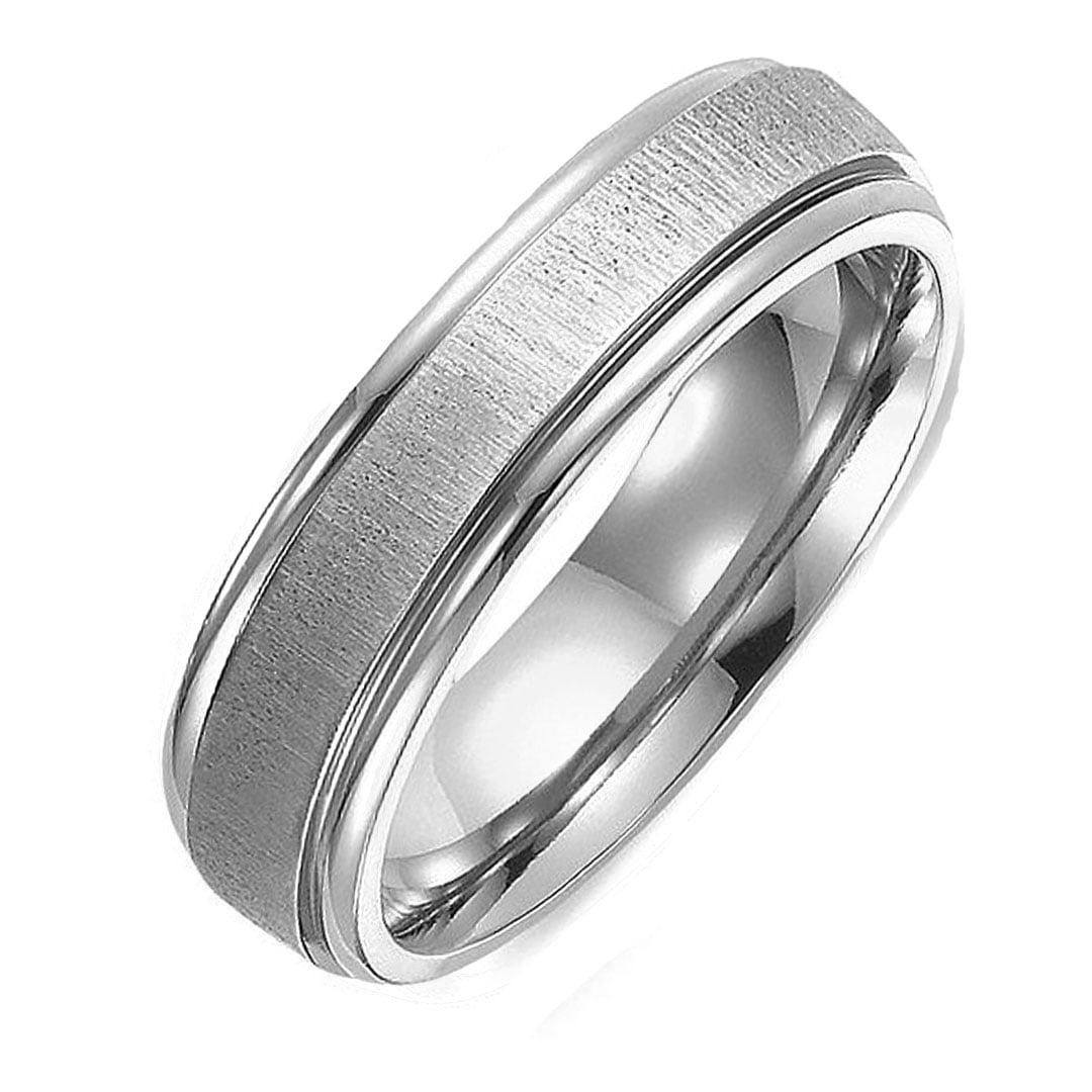 6.5 Women Ring Size 4 Gemini Groom /& Bride Plain Dome Court Black Matching Titanium Wedding Rings Set 6mm /& 4mm Width Men Ring Size