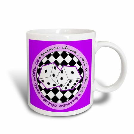 - 3dRose Bunco Chicks Roll With It Purple, Ceramic Mug, 11-ounce
