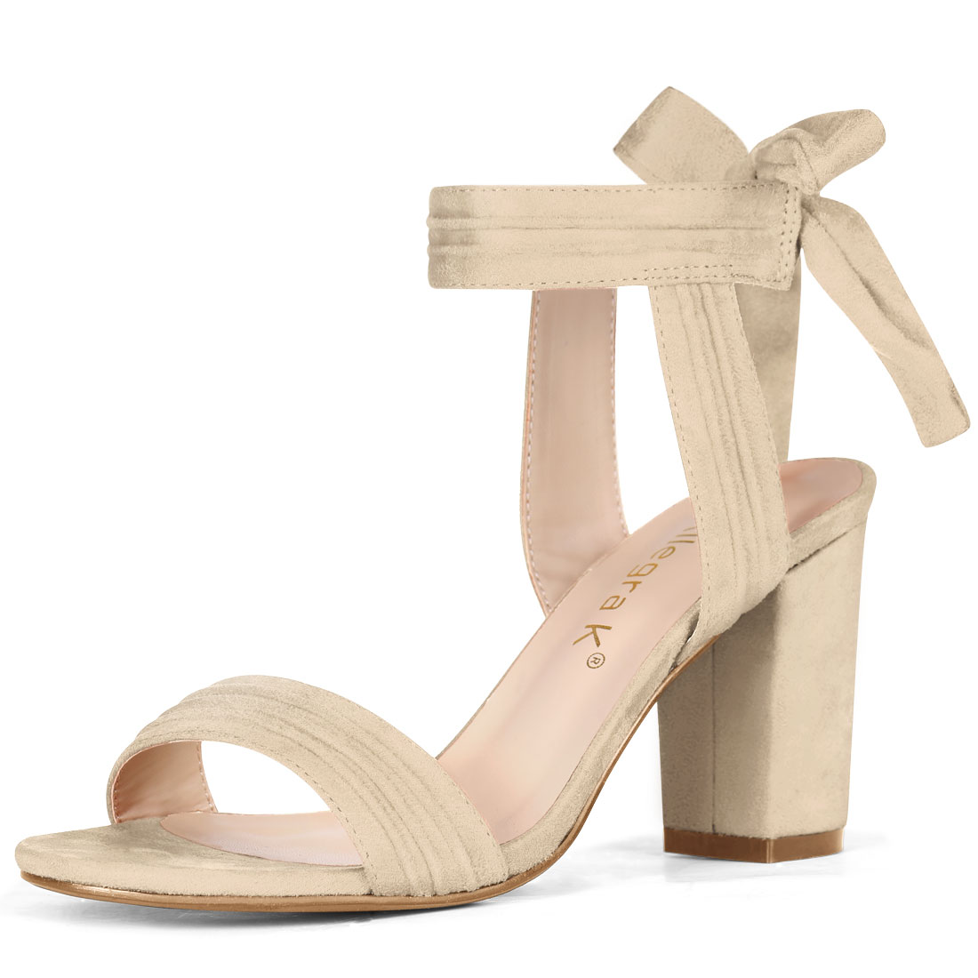 Unique Bargains Women's Ankle Tie Open Toe Block Heel Sandals Beige (Size 9.5) - image 7 of 7