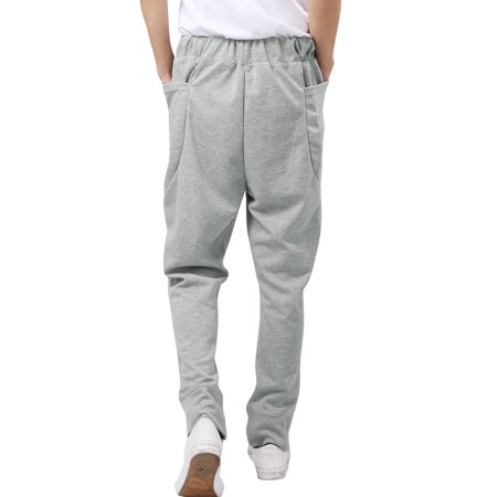 Men Stretchy Waist Design Sports Wear Light Gray Casual Pants W28/30 - image 1 of 7
