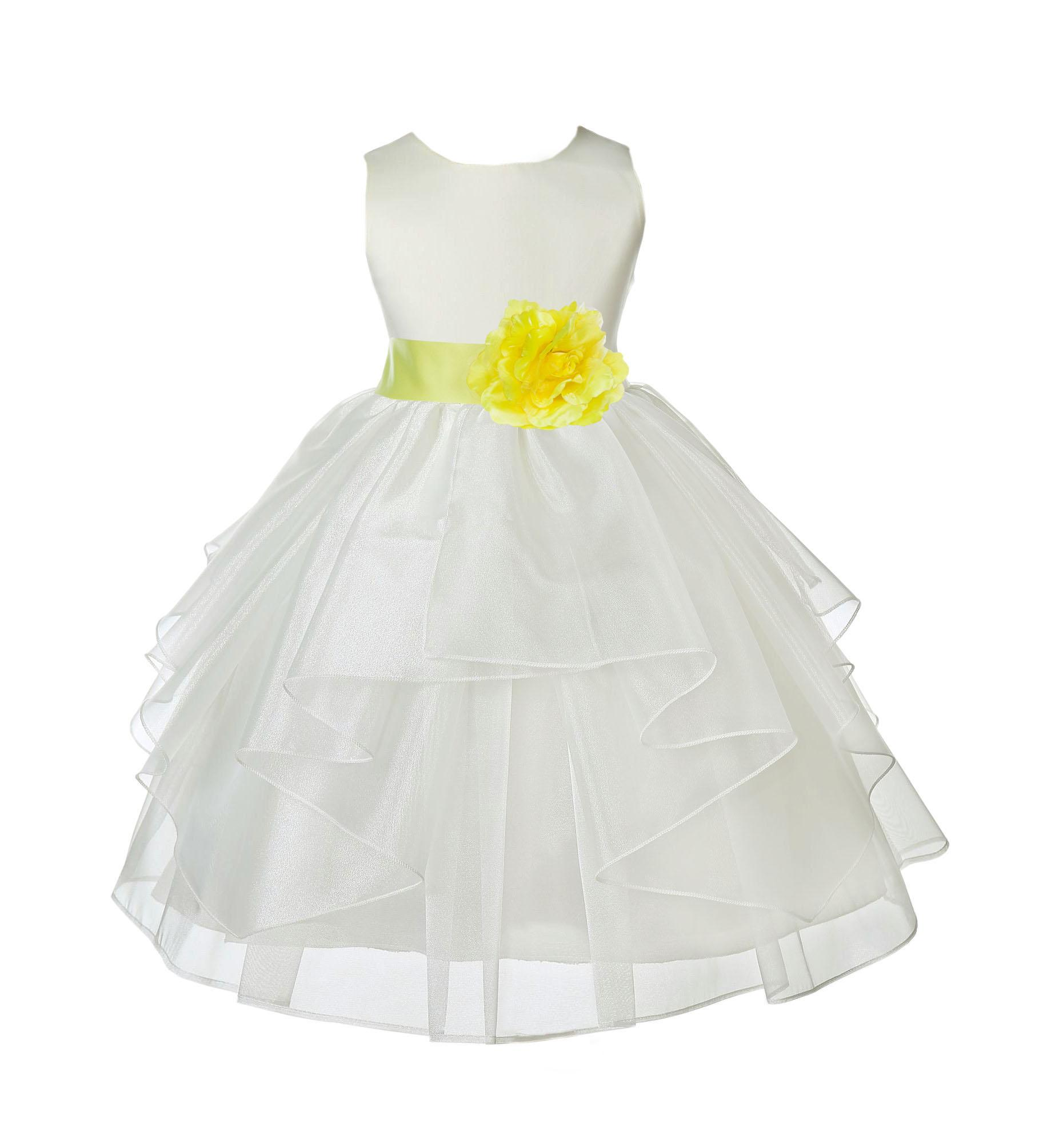 OFF WHITE Flower Girl Dress Party Wedding Graduation Recital Bridesmaid Birthday