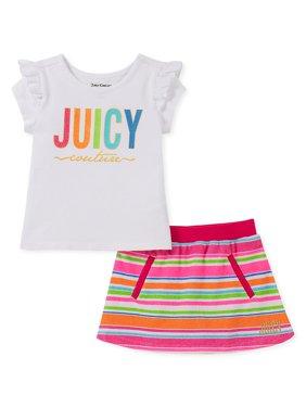 Little Girl's 2-Piece Ruffled Top & Cotton Blend Scooter Skirt Set