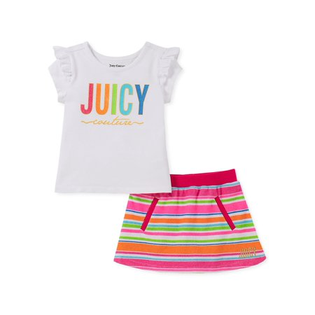 Juicy Couture Hooded Terry (Little Girl's 2-Piece Ruffled Top & Cotton Blend Scooter Skirt)