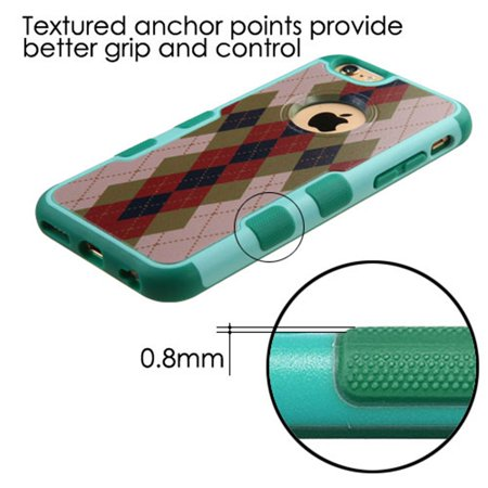 Insten Argyle Hard Rubber Cover Case For Apple iPhone 6/6s - Brown/Green - image 4 de 8