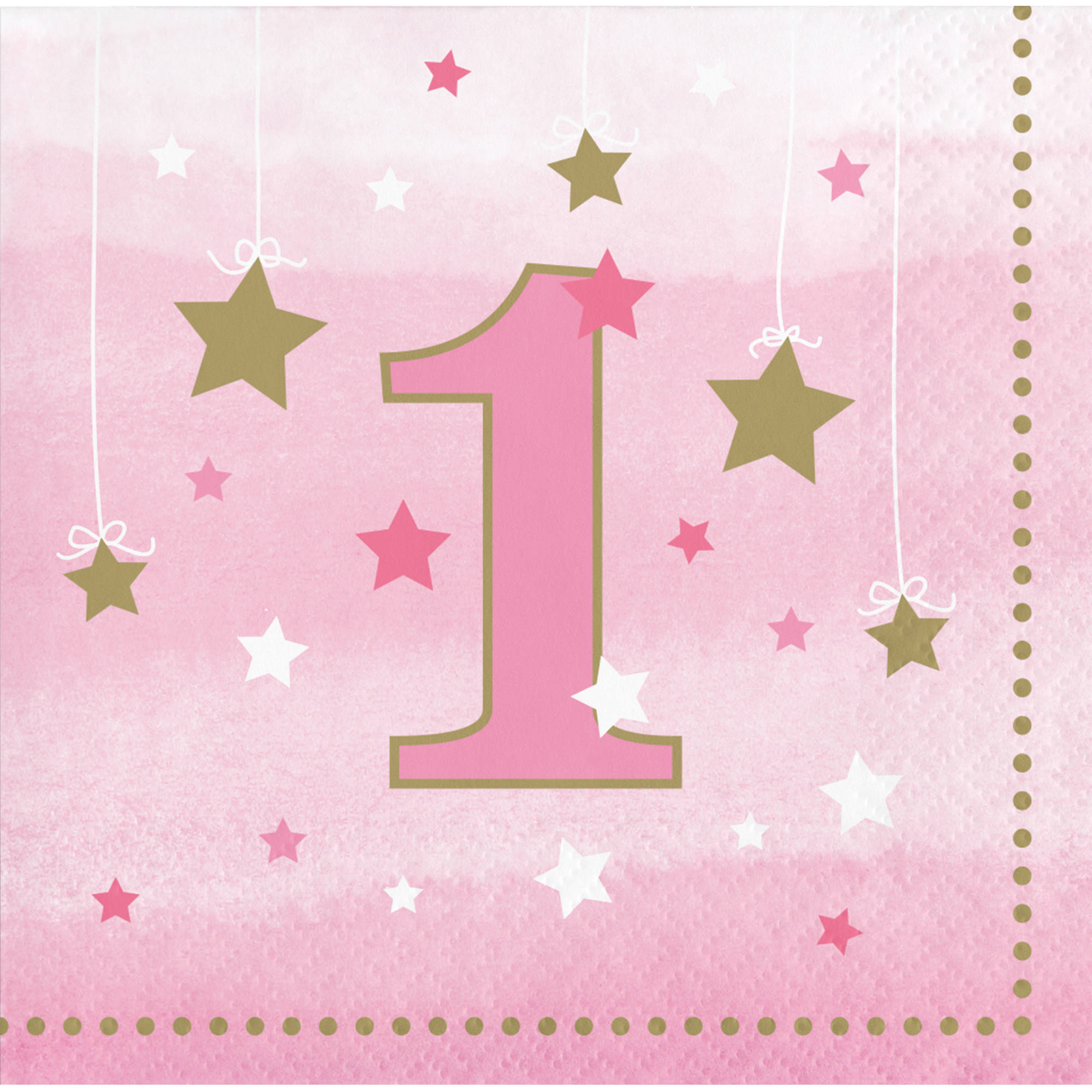 Little Star Girl 1st Birthday Beverage Napkins, 16-Pack