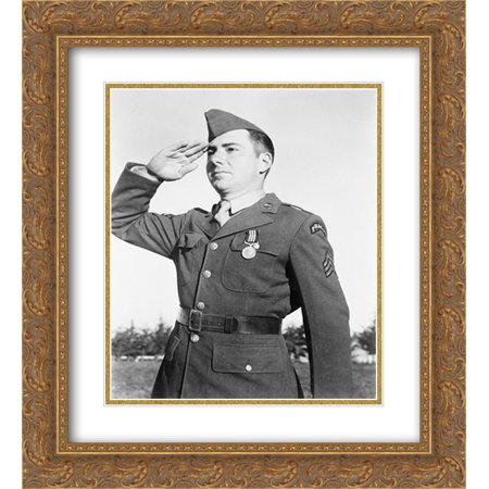 An American Ranger salutes the Briton who decorated him ; Photo, taken in French Morocco in the presence of President Roosevelt 20x24 Double Matted Gold Ornate Framed Art - Decorate An Office