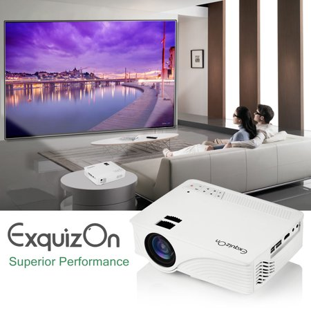 ExquizOn Mini Projector Multimedia Home Theater Video Projector 1500 Lumens Support 1080P HDMI USB SD Card AV with HDMI Input for Home Cinema TV Laptop iPad iPhone Android Smartphone White (GP12)