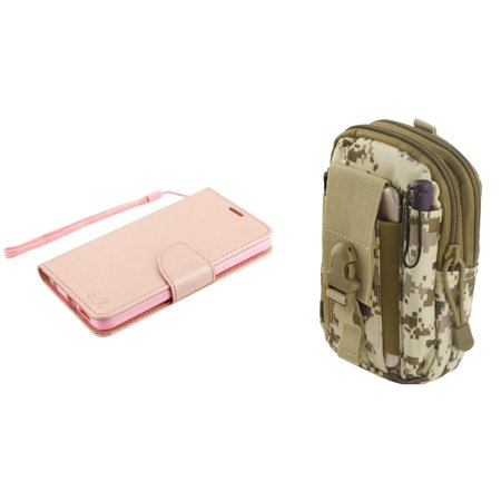 MyJacket Synthetic PU Leather Magnetic Flip Cover Wallet Case (Rose Gold) with Desert Camo Tactical EDC MOLLE Utility Waist Pack Holder Pouch, Atom Cloth for LG Q7+ (T-Mobile) - Womans Desert Camouflage